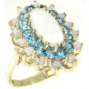 9ct White Gold Opal & Blue Topaz Cluster Ring