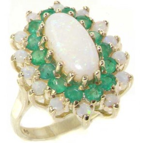 9ct White Gold Huge Fiery Opal & Emerald Ring