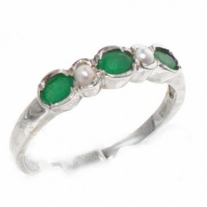 9ct White Gold Emerald & Pearl Ring