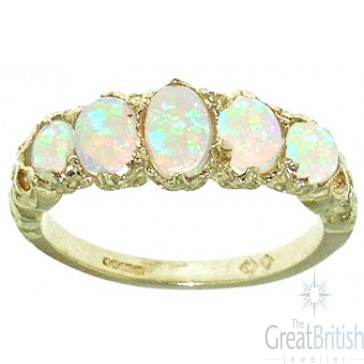 9ct Yellow Gold Natural Opal English Victorian Ring