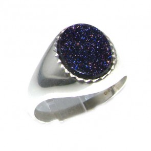 Sterling Silver Mens Blue Goldstone Signet Ring