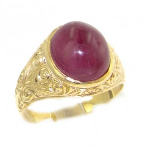 9ct Yellow Gold Large 12x10MM Cabouchon Ruby Mens Signet Ring