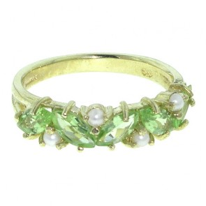 9ct Yellow Gold Marquise Peridot & Pearl Ring