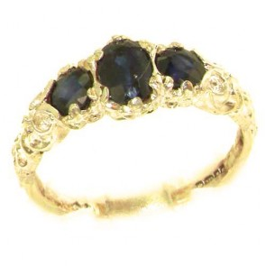 14K Yellow Gold Natural Sapphire English Victorian Trilogy Ring