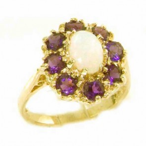 9ct Yellow Gold Natural Opal & Amethyst Large Cluster Ring