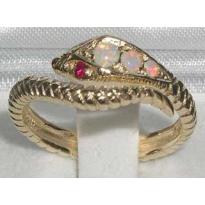 14K Yellow Gold Natural Fiery Opal & Ruby Detailed Snake Ring