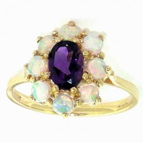 9ct Yellow Gold Amethyst & Opal Cluster Ring