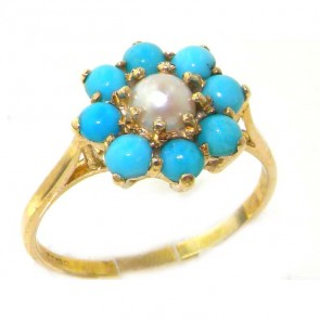 9ct Yellow Gold Pearl & Turquoise Ring