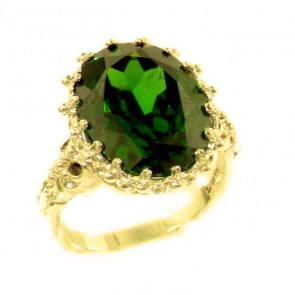 14K Yellow Gold Large 16x12mm Oval 12ct Synthetic Emerald Ring
