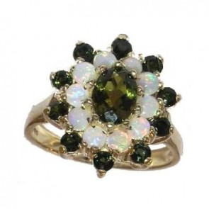 Fabulous 9ct Yellow Gold Natural Green Tourmaline & Opal 3 Tier Large Cluster Ring