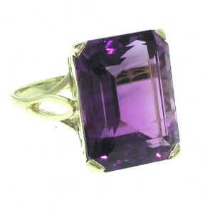 9ct Yellow Gold Large 16x12mm Octagon cut Amethyst Ring