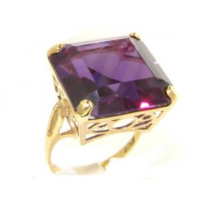 14K Yellow Gold Huge Heavy Square Octagon cut Synthetic Alexandrite Ring