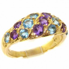 14K Yellow Gold Natural Vibrant Amethyst & Blue Topaz Victorian Inspired Ring