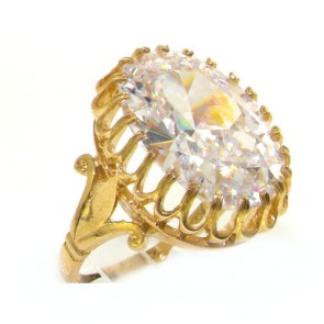 9ct Yellow Gold Ladies Vintage Style Large CZ Cubic Zirconia Ring