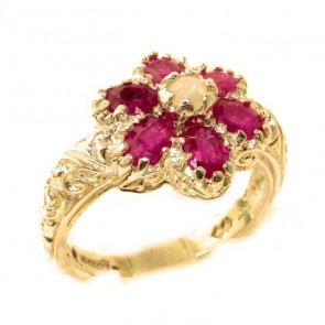 9ct Yellow Gold Fiery Opal & Ruby Womans Art Nouveau Flower Ring