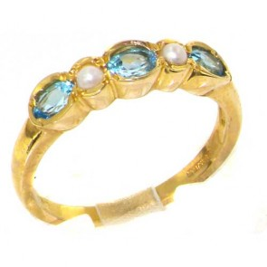 9ct Yellow Gold Ladies Natural Blue Topaz & Pearl Contemporary Style Eternity Band Ring