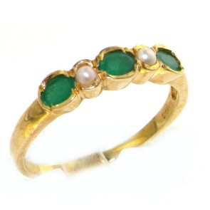 18ct Yellow Gold Ladies Emerald & Pearl Anniversary Eternity Band Ring