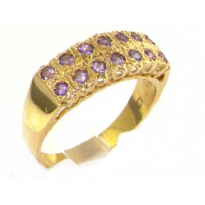 9ct Yellow Gold Natural Amethyst Victorian Style Wide Eternity Band Ring