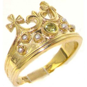 9ct Yellow Gold Natural Peridot & Seed Pearl Victorian Style Monarchy Crown Ring