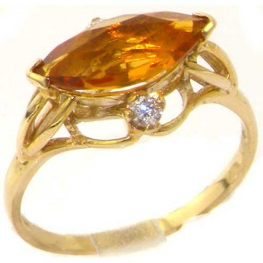 9ct Yellow Gold Large Marquise Citrine & Diamond Ring