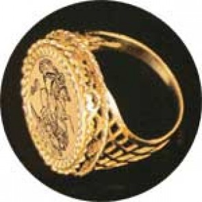 9ct Yellow Gold Hearts & Pentagons Year 2019 Full Sovereign Ring