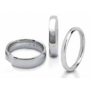6mm 9ct White Gold Mens Court (Comfort Fit) Wedding Ring