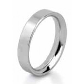 6mm 9ct White Gold Mens Flat Wedding Ring