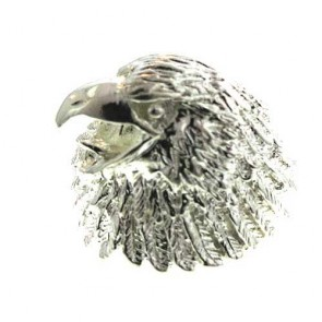 Sterling Silver Mens Heavy 1/2 Oz 16 grams Eagle Head Ring