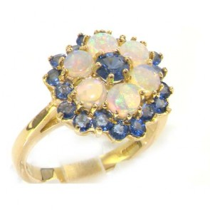 9ct Yellow Gold Ladies Ceylon Sapphire & Fiery Opal Cluster Ring