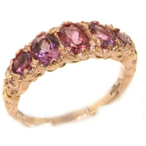 9ct Rose Gold Luxury Vibrant Pink Tourmaline Eternity Band Ring