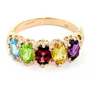 14K Rose Gold Multicolour Gemstone Ring