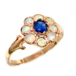 9ct Rose Gold Sapphire & Fiery Opal Cluster Ring