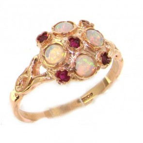 9ct Rose Gold Ladies Ruby &  Fiery Opal Vintage Style Cluster Ring