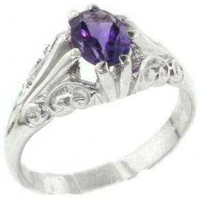 Sterling Silver Large 8x6mm Natural Amethyst Antique Style Ring