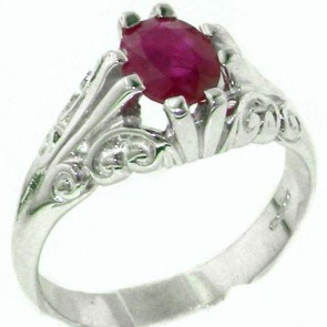 Sterling Silver Large 8x6mm Natural Ruby Antique Style Ring
