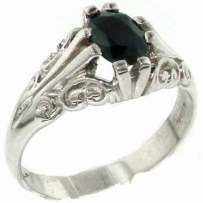 Sterling Silver Large 8x6mm Natural Sapphire Antique Style Ring