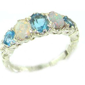 14K White Gold Natural Blue Topaz & Opal English Victorian Ring