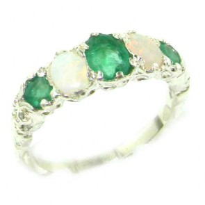 14K White Gold Natural Emerald & Opal English Victorian Ring