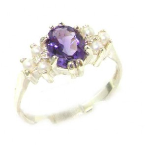 Sterling Silver Natural Amethyst & Pearl Ring