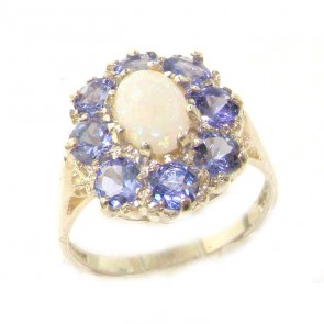 Sterling Silver Opal & Tanzanite Cluster Ring