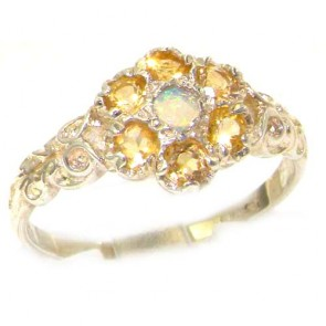 Sterling Silver Natural Fiery Opal & Citrine Daisy Ring