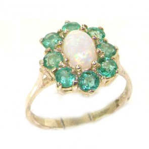 Sterling Silver Natural Opal & Emerald Cluster Ring