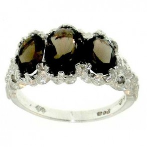 Sterling Silver Ladies Large Smokey Quartz Topaz Ring