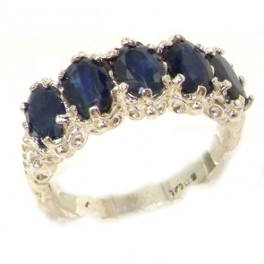 Sterling Silver Natural Sapphire Ring