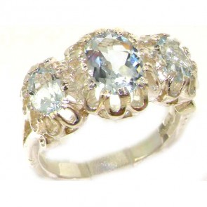 Unusual Large Sterling Silver Natural Vibrant Aquamarine Victorian Inspired Ring