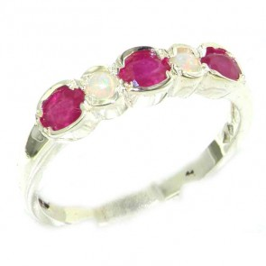 9ct White Gold Ladies Natural Ruby & Fiery Opal Contemporary Style Eternity Band Ring