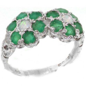 Sterling Silver Natural Emerald & Fiery Opal Double Daisy Ring