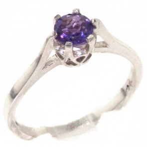 Sterling Silver Genuine Natural Amethyst Solitaire Ring
