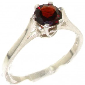 Sterling Silver Genuine Natural Garnet Solitaire Ring