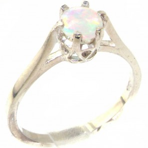 Sterling Silver Genuine Natural Colorful Opal Solitaire Ring